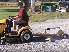 Pull Behind Ratchet Rake with Remote Control Wheel Lift Video