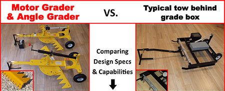 Motor Grader and Angle Grader vs. Typical tow behind grade box.